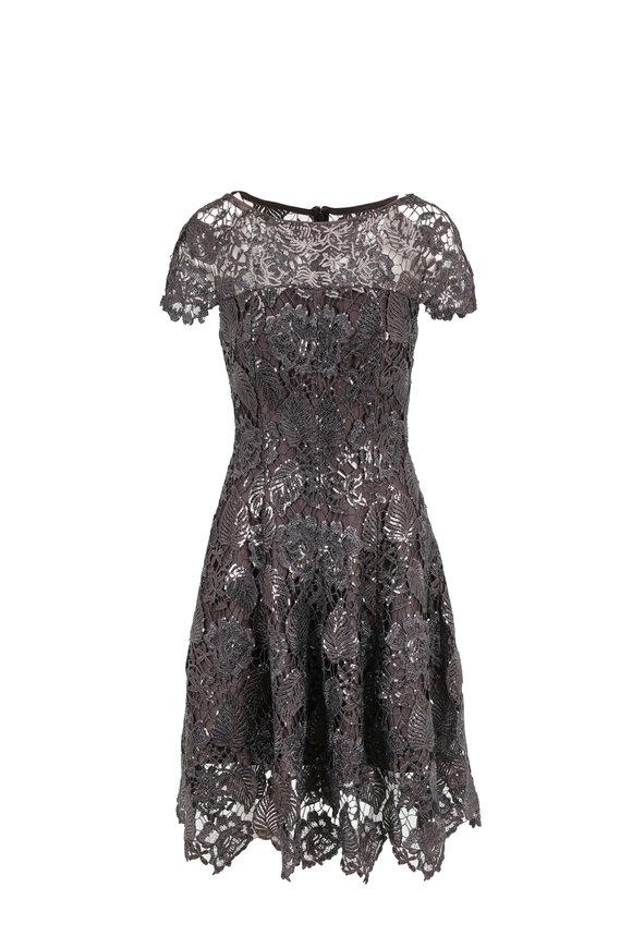 Talbot Runhof Noix2 Espresso Sequin Floral Lace Cap-Sleeve Dress
