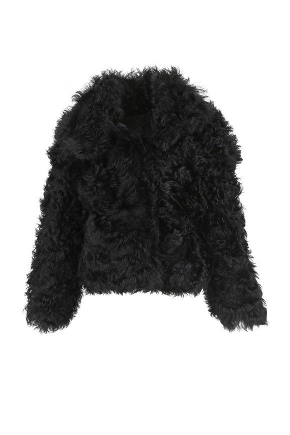 Oscar de la Renta Furs Black Tigardo Shearling Cocoon Crop Jacket