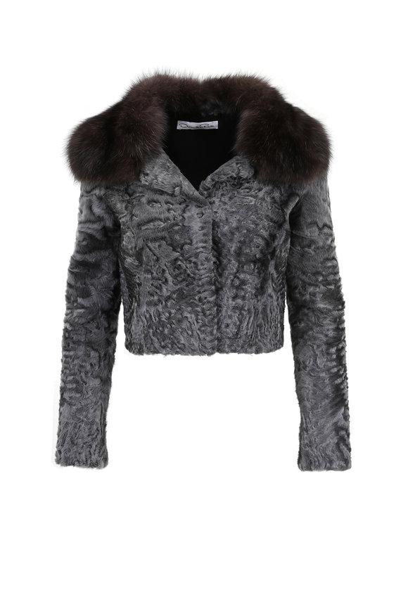 Oscar de la Renta Furs Graphite Persian Lamb Cropped Jacket