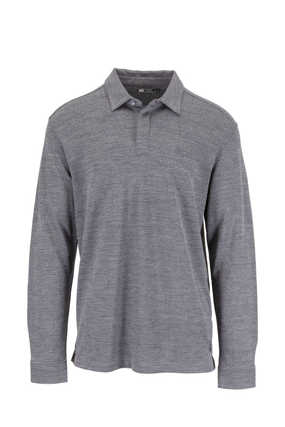 Z Zegna Gray Performance Wool Long Sleeve Piqué Polo