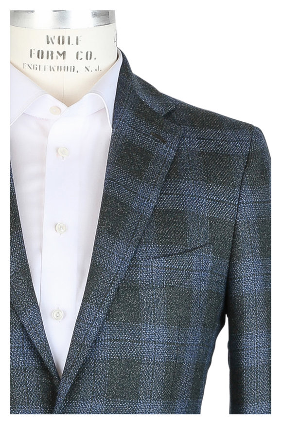 Mauro Blasi Blue & Green Plaid Wool & Silk Sportcoat