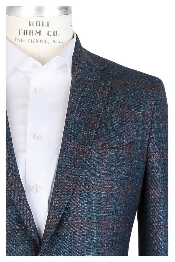 Mauro Blasi Teal Windowpane Wool Blend Sportcoat