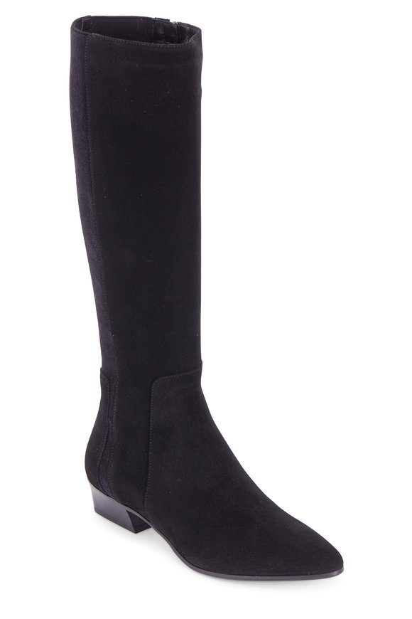 Aquatalia Federica Black Suede & Elasticized Tall Boot