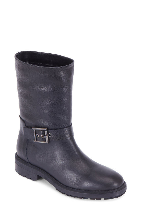 Aquatalia Leda Grained Leather Buckled Moto Boot