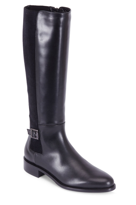 Aquatalia Noella Black Leather & Elastic Buckled Tall Boot