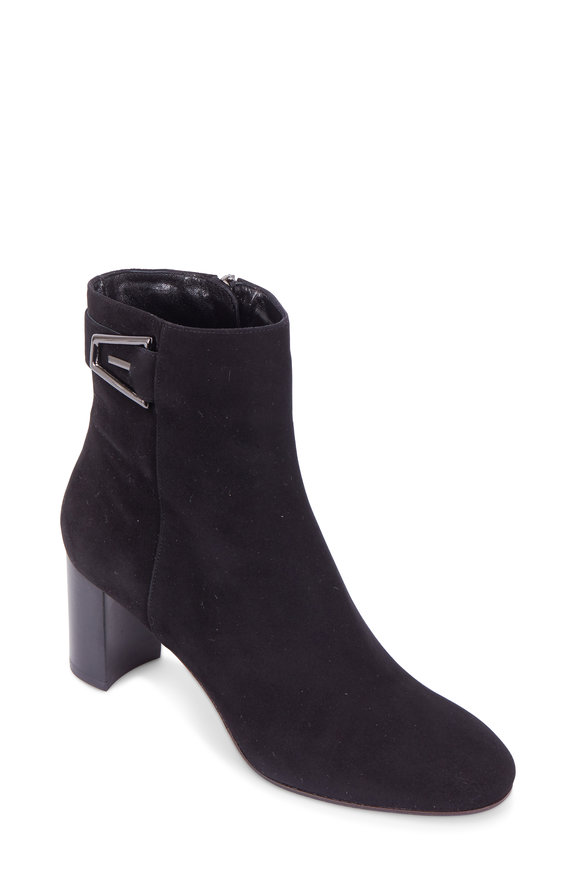 Aquatalia Venezia Black Suede Modern Buckle Ankle Boot, 60mm