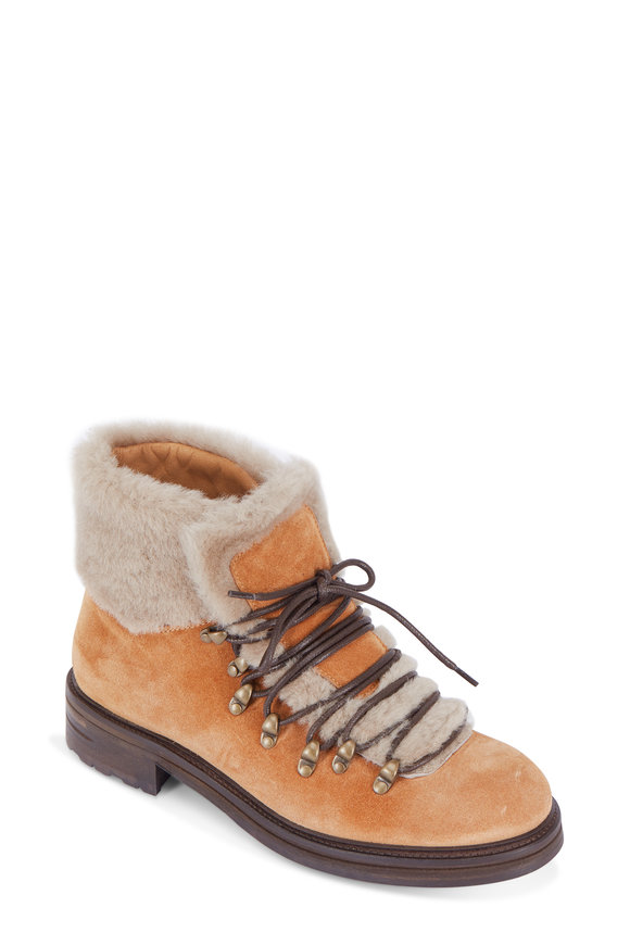 Alberto Fermani Evia Terra Suede Shearling Cuff Lace-Up Boot