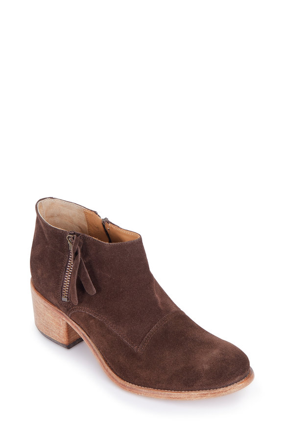 Alberto Fermani Capricia Coffee Suede Double-Zip Bootie, 50mm