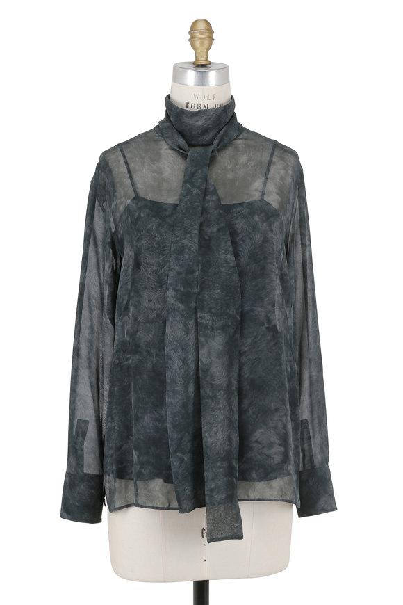 Akris Shadow Black Silk Shearling Print Tie-Neck Blouse