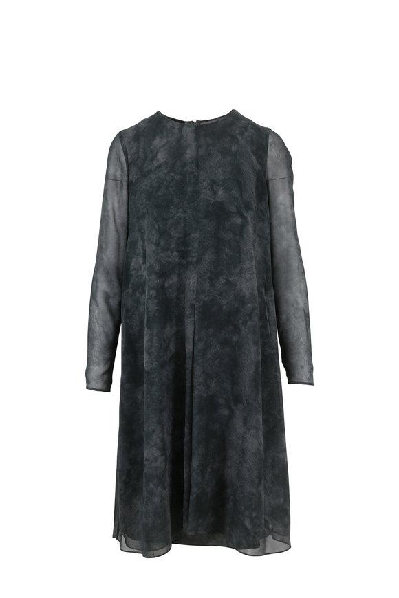 Akris Black Shadow Silk Shearling Print Dress