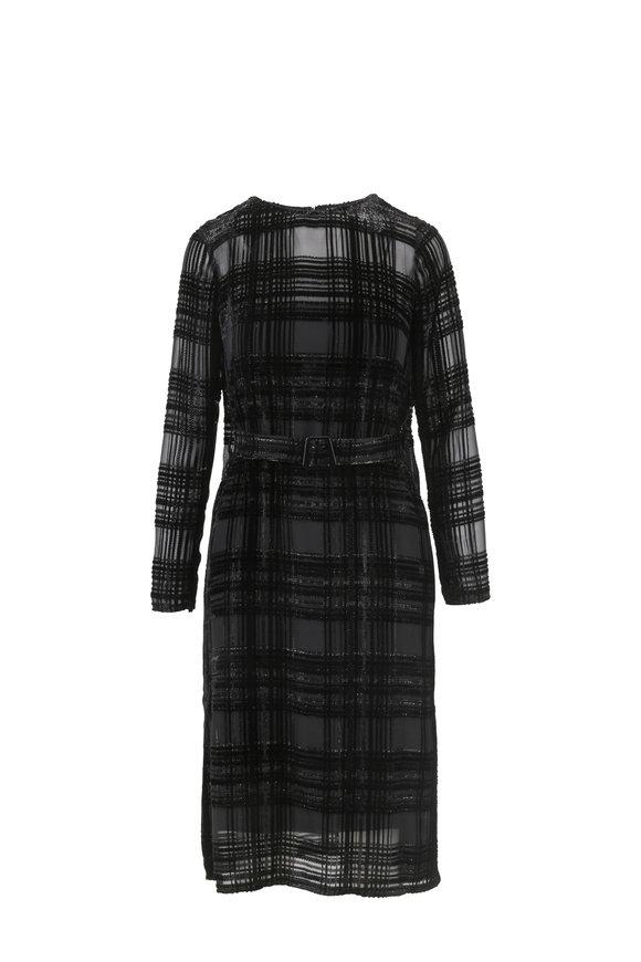 Akris Black Devoré Velour Square Pattern Belted Dress