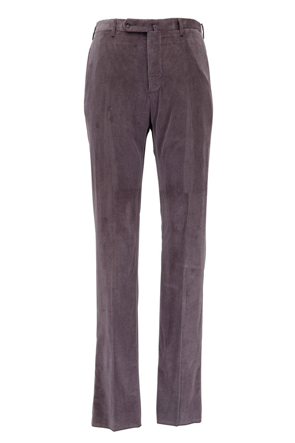 Incotex Brando Charcoal Grey Corduroy Classic Fit Pant