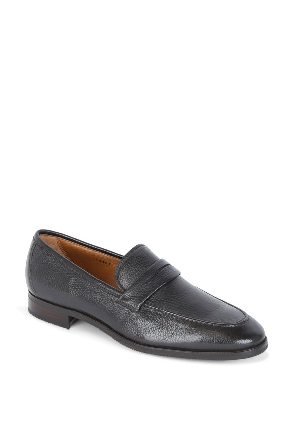 Gravati Dark Brown Grained Leather Penny Loafer