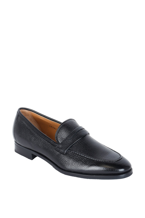 Gravati Black Pebbled Leather Penny Loafer
