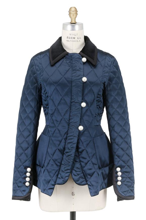 Altuzarra Isolde Midnight Satin Quilted Peplum Jacket