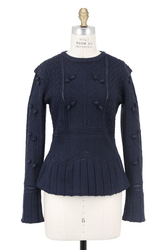Altuzarra Katie Navy Blue Wool Mix-Stitch Peplum Sweater