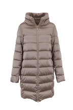 Herno - Taupe Satin Quilted Cocoon Coat