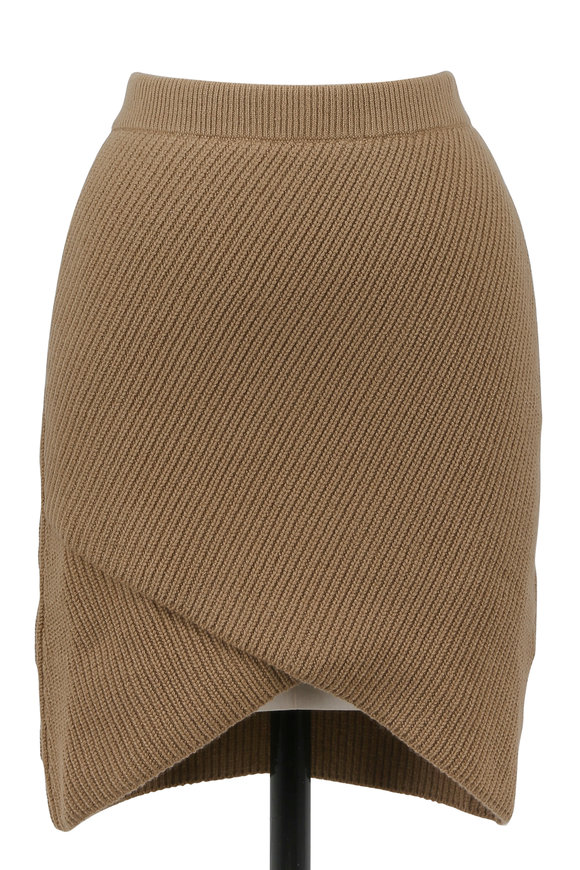 Michael Kors Collection Chino Ribbed Cashmere Asymmetric Hem Mini Skirt