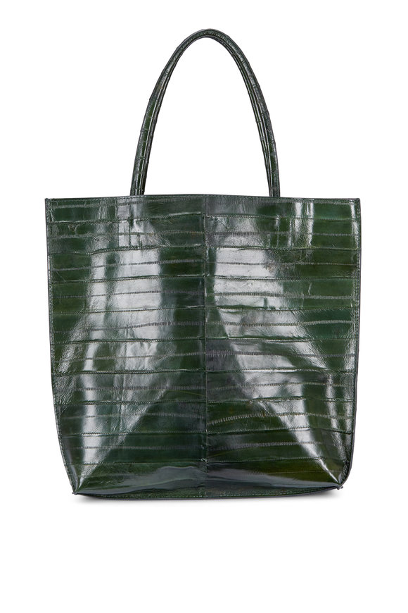 B May Bags Forest Green Eel Medium Tote