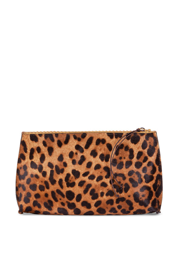 B May Bags Light Cheetah Calfskin Leather Essential Pouch