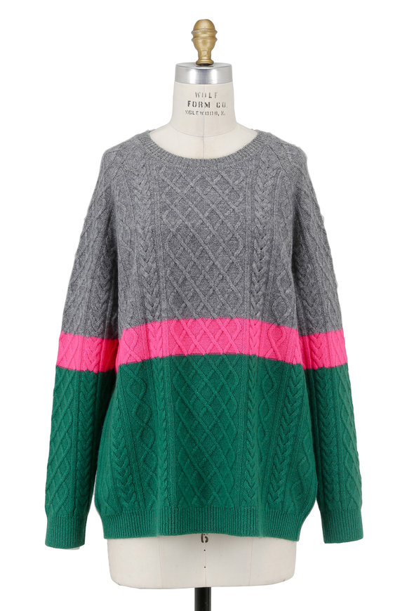 Jumper 1234 Gray, Pink & Green Colorblock Cable Knit Sweater