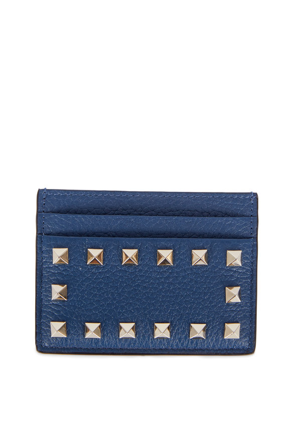 Valentino Rockstud Peacock Leather Card Case