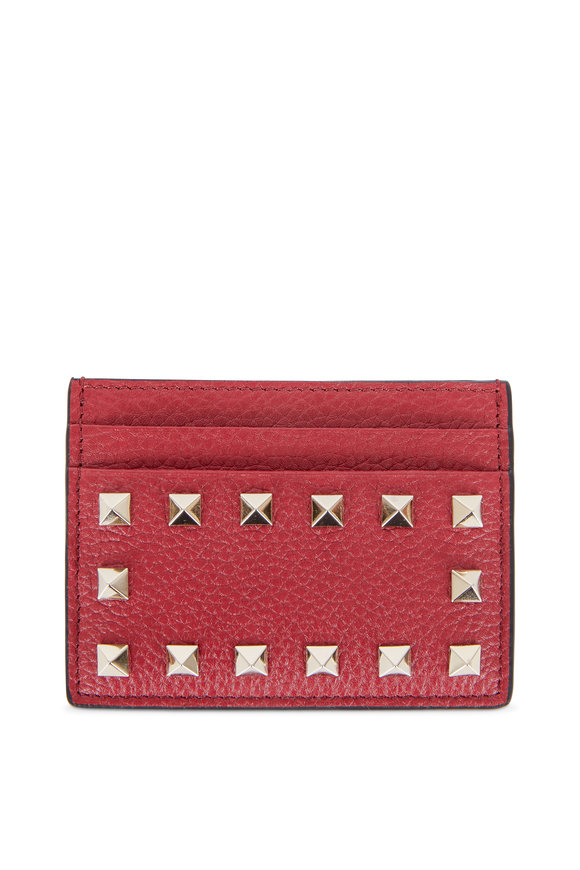 Valentino Rockstud Red Leather Card Case
