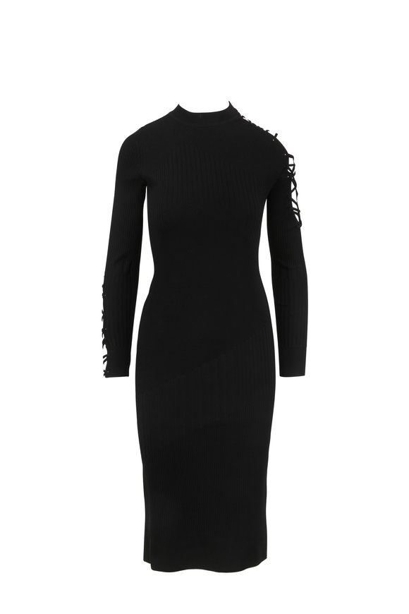 Cushnie et Ochs Black Ribbed Knit Web Arm Detail Dress