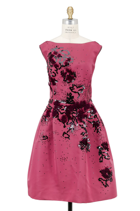 Carolina Herrera Rose Silk Faille Embroidered Cocktail Dress