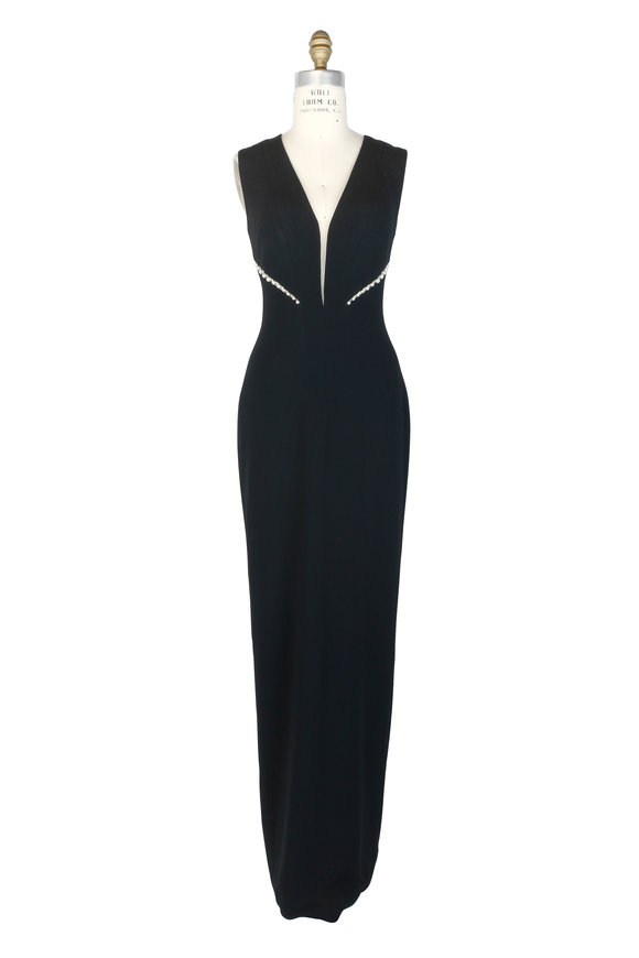 Pamella Roland Black Cut-Out Pearl Column Dress