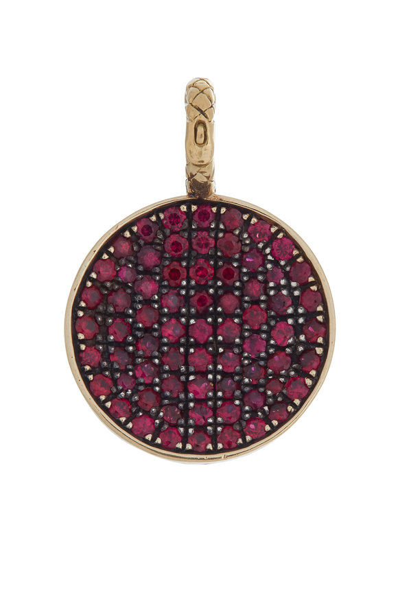 Ray Griffiths 18K Yellow Gold Pavé Ruby Half Ball Pendant