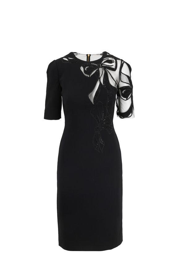 Jenny Packham Black Illusion Bow Elbow Sleeve Cocktail Dress