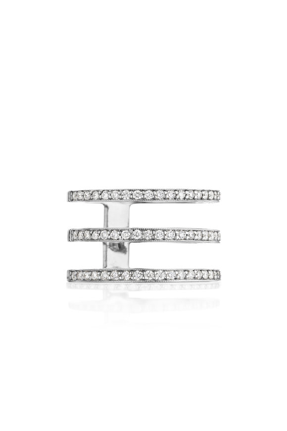 Penny Preville 18K White Gold Three Band Diamond Ring