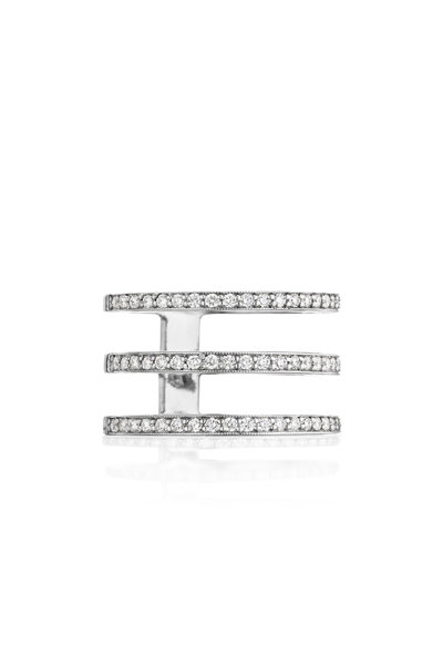 Penny Preville - 18K White Gold Three Band Diamond Ring