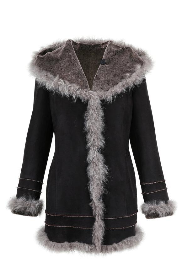 Viktoria Stass Black Shearling & Cashmere Fur Trim Hooded Coat