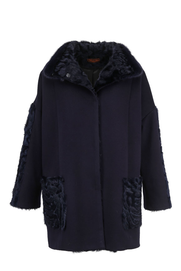 Viktoria Stass Navy Cashmere & Wool Coat With Shearling Trim
