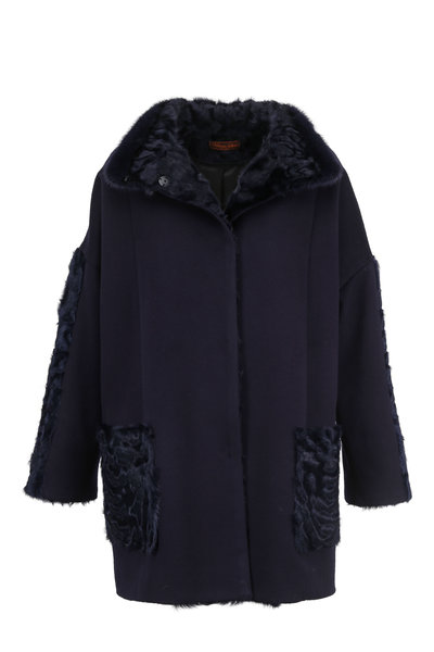 Viktoria Stass - Navy Cashmere & Wool Coat With Shearling Trim