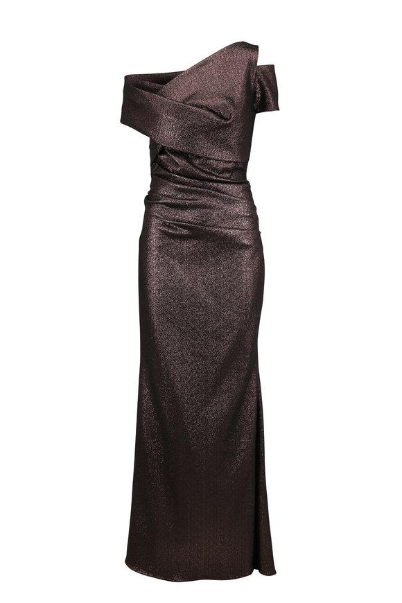 Talbot Runhof Metallic Copper Stretch Scuba Asymmetric Neck Gown