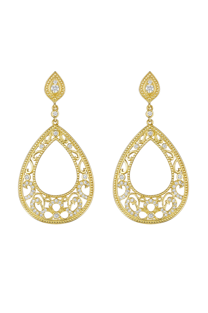 Gold Pear Shape Bead Scroll Diamond Earrings