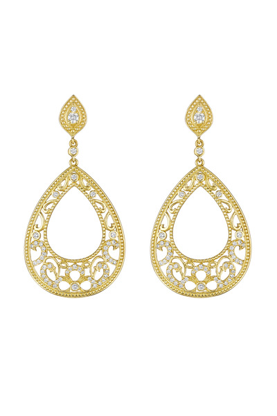 Penny Preville - Gold Pear Shape Bead Scroll Diamond Earrings