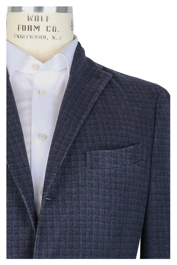 Boglioli Navy Blue Windowpane Wool Unconstructed Sportcoat