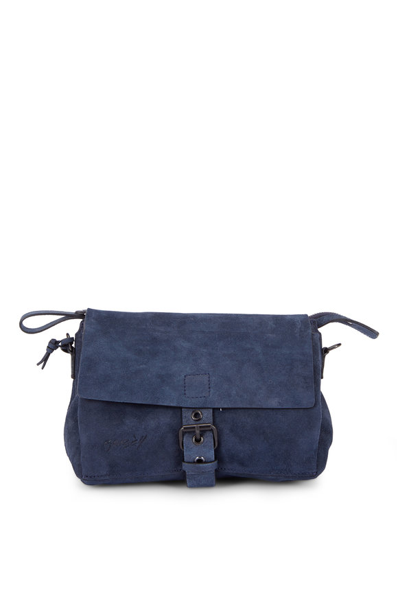 Marsell Tascauna Navy Blue Suede Small Crossbody