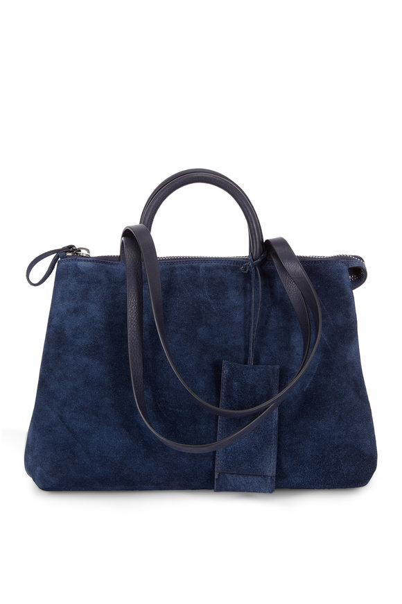 Marsell Dritta Navy Blue Suede Convertible Bag