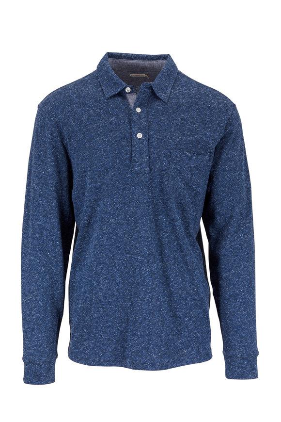 Faherty Brand Heather Navy Blue Long Sleeve Polo
