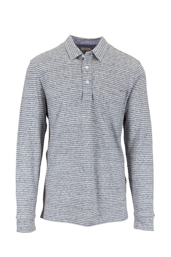 Faherty Brand Gray & Blue Striped Long Sleeve Polo