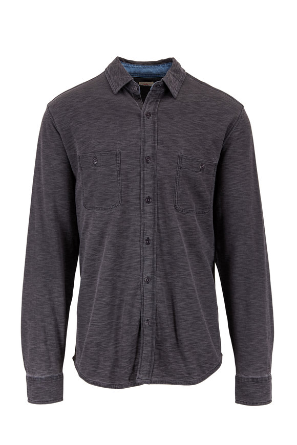 Faherty Brand Black Indigo Wash Knit Sport Shirt