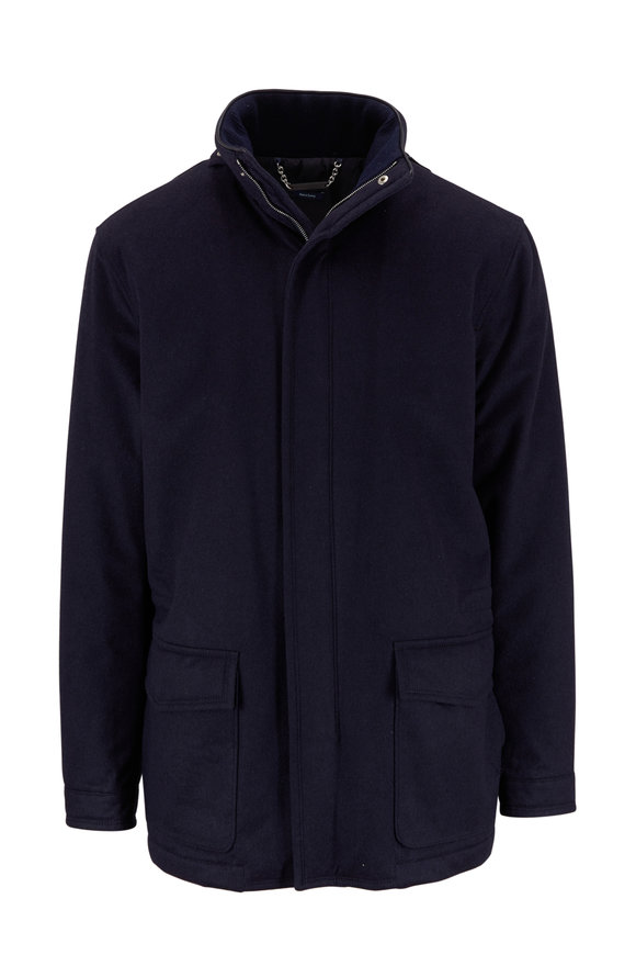 Peter Millar Tempest Navy Cashmere & Silk All Weather Jacket