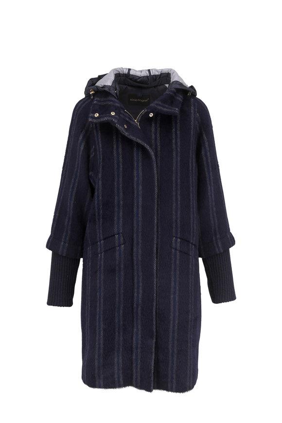 Bogner Wendy Blue & Gray Striped Alpaca Coat
