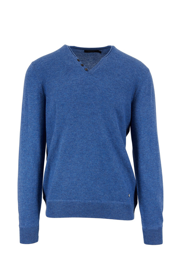 Raffi  Denim Blue Wool & Cashmere Knit Henley