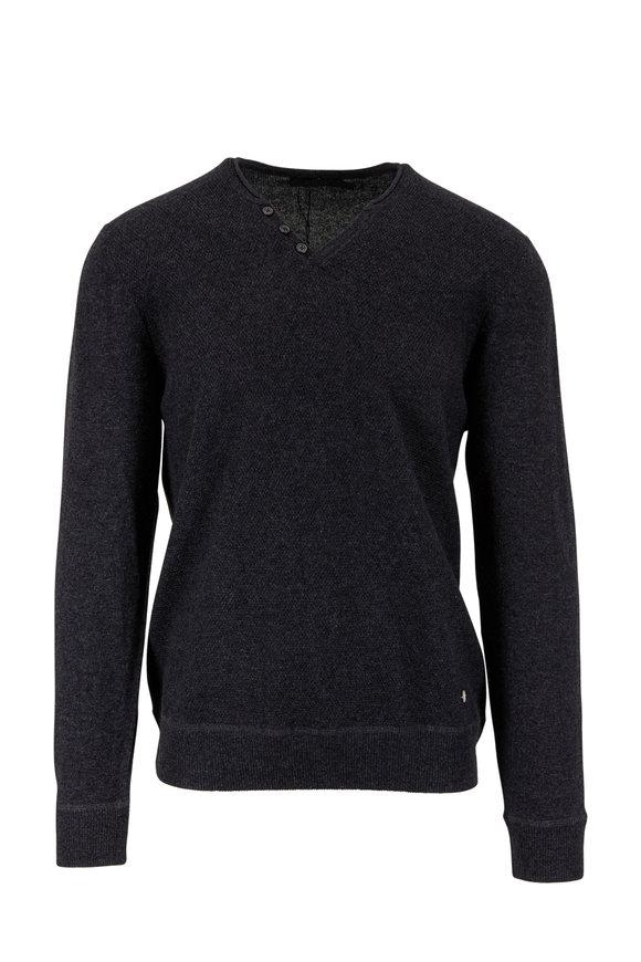 Raffi  Charcoal Gray Wool & Cashmere Knit Henley